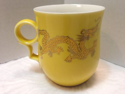Unique Chinese Yellow Porcelain Dragon Gold Outlined Design 4""