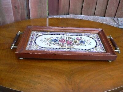Antique Wooden Tiled Tray with Handles 1920s