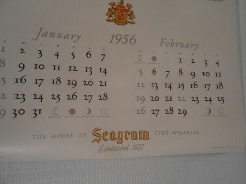 Vintage Seagram Whiskey Calendar 1956