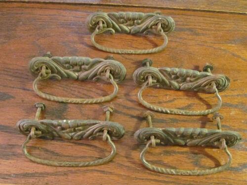 5 Vintage Ornate Victorian Drawer Pulls Handles Drop Bale Art Nouveau Brass Old