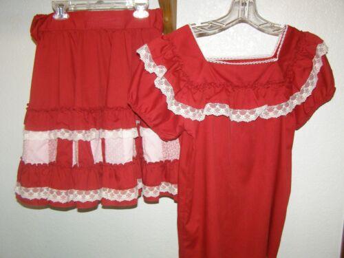 SQUARE DANCE DRESS SKIRT WAIST 30-32 2 PIECE MEDIUM RED CRANBERRY WHITE LACE
