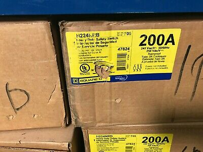 Square D H224nrb 200 Amp 240v Single Phase Heavy Duty 3r Fusible Disconnect