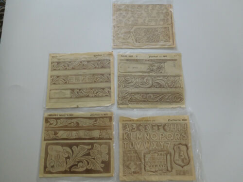 Vtg Craftaid Belts Alphabet Wallet Leather Crafting Templates Lot of 5x 1954-73