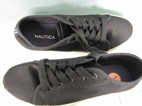Nautica Sneakers Boat Shoes Size 7 Black Textile uppers White Rubber Sole NWOT