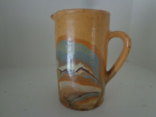 ANTIQUE FRENCH REDWARE PITCHER WITH WONDERFUL COLORFUL GLAZE CIRCA 1860