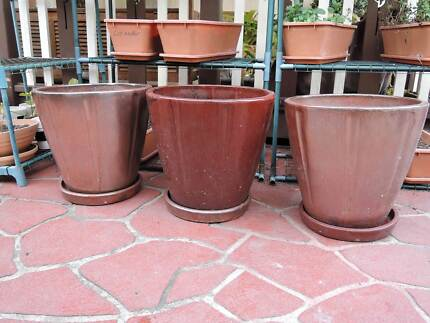 Glazed Ceramic pots. 4 available. Revesby Bankstown Area Preview