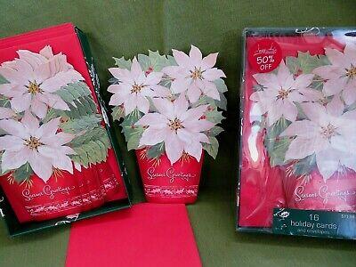 Christmas Cards 32 Image Arts Season's Greetings Pot of White Poinsettias Boxed  ()