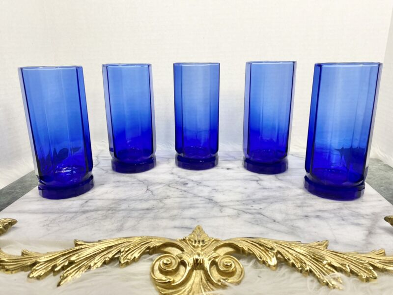 VINTAGE ESSEX ANCHOR HOCKING Tumblers Glasses COBALT BLUE 10 Panel 16 OZ Set/5