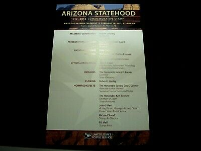 PROGRAM FOR THE FIRST DAY OF ISSUE CEREMONY 2012 ARIZONA STATEHOOD