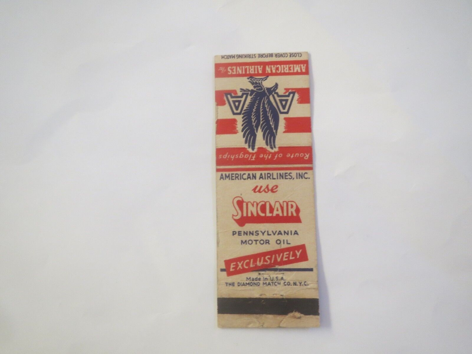 AMERICAN AIRLINES SINCLAIR EXCLUSIVELY MOTOR OIL VINTAGE PROMO MATCHBOOK COVER