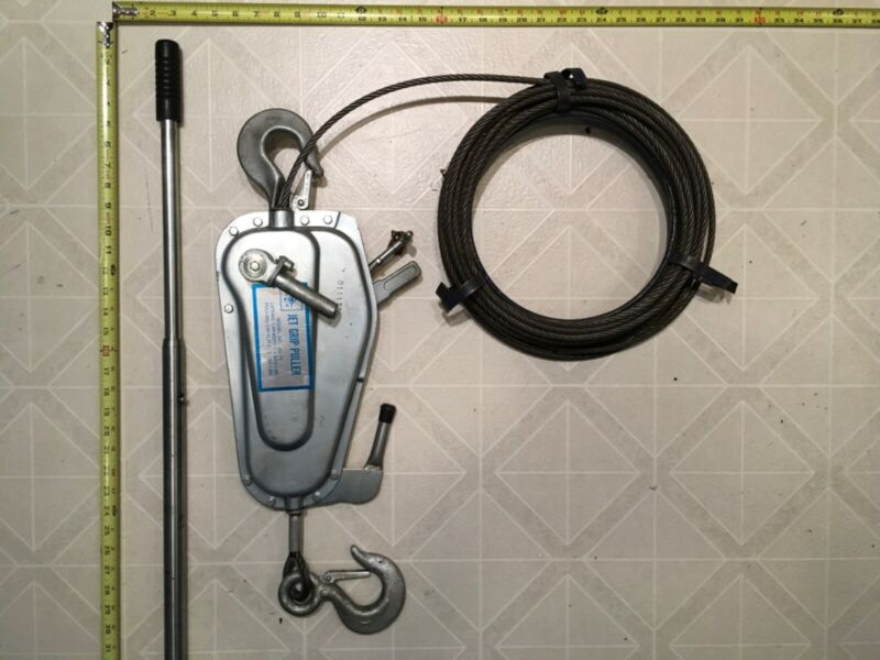 Jet Wire Rope Cable Grip Hoist Puller JG-75 2750lbs pull 1650lbs lift Excellent!