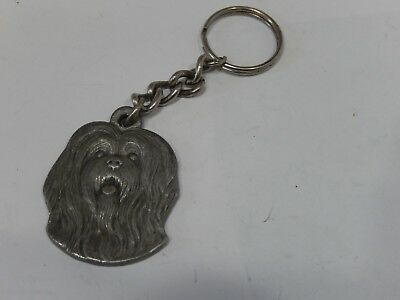 Vintage 1982 I LOVE MY LHASA APSO Dog Key Chain Fob Rawcliffe Pewter