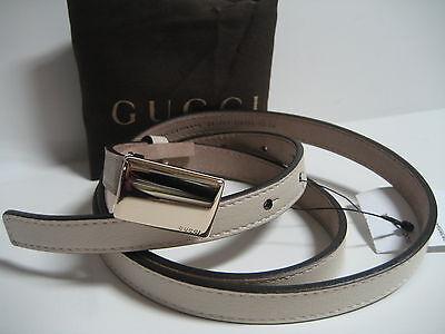 Nouveau Gucci Femmes 36 In 90 cm Skinny Crème Ceinture Cuir Logo Plaque Boucle
