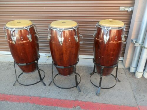3 MATCHING VINTAGE LP LATIN PERCUSSION CONGAS,WITH STANDS MAHOGANY INK DATED