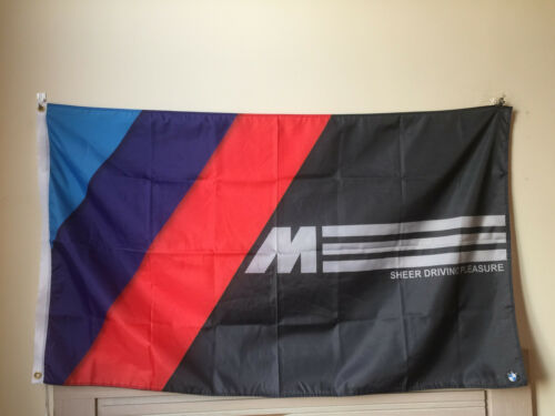BMW Tri-color M Power Sign Car Black Flag banner 3' x 5' Advertising Custom