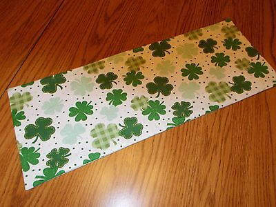 Shamrock Table Decorations (Handmade shamrock decor MINI table runner Toilet Tank Topper Irish plaid)