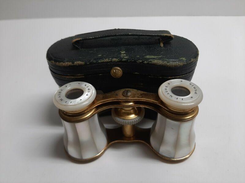 Antique Mother of Pearl Opera Glasses Monogrammed Lemaire Paris W/ Original Case