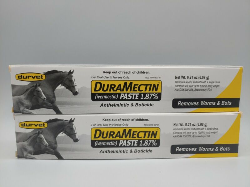 DuraMectin HORSE DEWORMER PASTE 1.87% For Horses Removes Worms Bots 2 Tubes