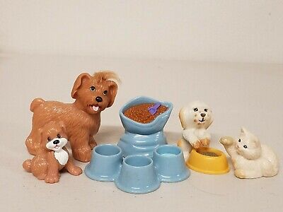 Fisher Price Loving Family Lot  Dollhouse Pet Lot - Dog Cat Puppy Food Bowls