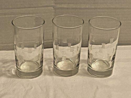 lot of 3 Vintage1955 Libbey Windsor Grey Cut Squares 8oz TUMBLER glasses