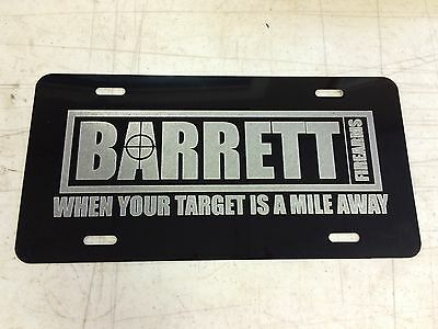 BARRETT FIREARMS Car Tag Diamond Etched on Aluminum License Plate
