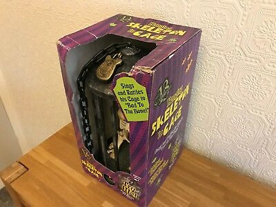 """RARE! Boxed (Vintage 2000) Gemmy Animated 15"""" Skeleton Cage Halloween Prop VGC"""