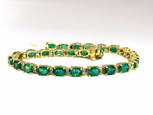 9.30ct Green Natural Emerald Diamonds Tennis Bracelet 14k G/vs