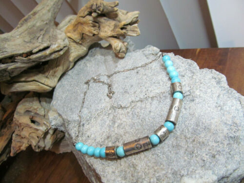 Vintage 925 Sterling Silver Tube Turquoise Bead Beaded Chain Necklace 10.9g