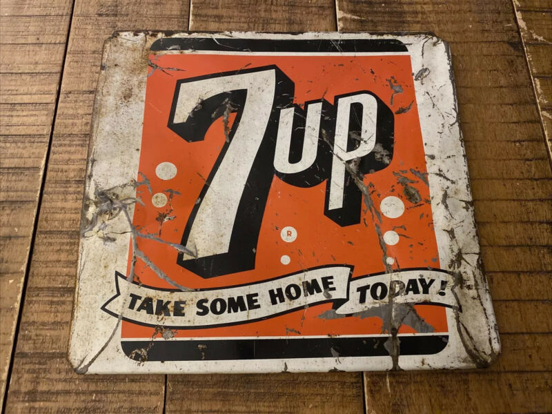 "Vtg 7Up ""Take Some Home Today!"" Metal Sign - 12x12"