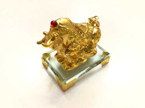 2021 CHINESE ZODIAC SIGN YEAR OF THE GOLDEN OX STATUE FIGURINE WITH GLASS BASE