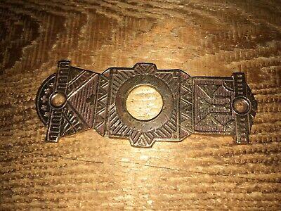 - Mechanical Door Bell Pull Escutcheon Plate BRANFORD 1880's Brass Antique