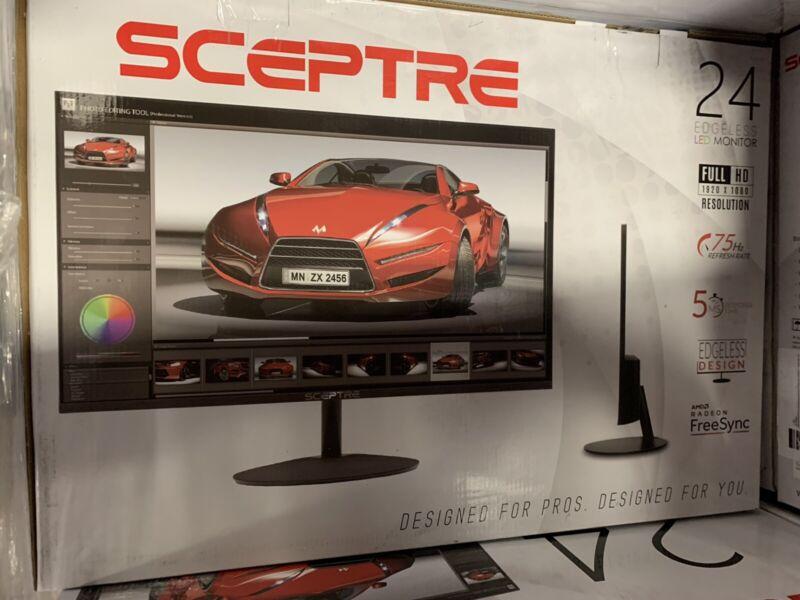 """Sceptre E248W-19203R 24"""" Ultra Thin 75Hz 1080p LED Monitor 2x HDMI VGA Built In"""
