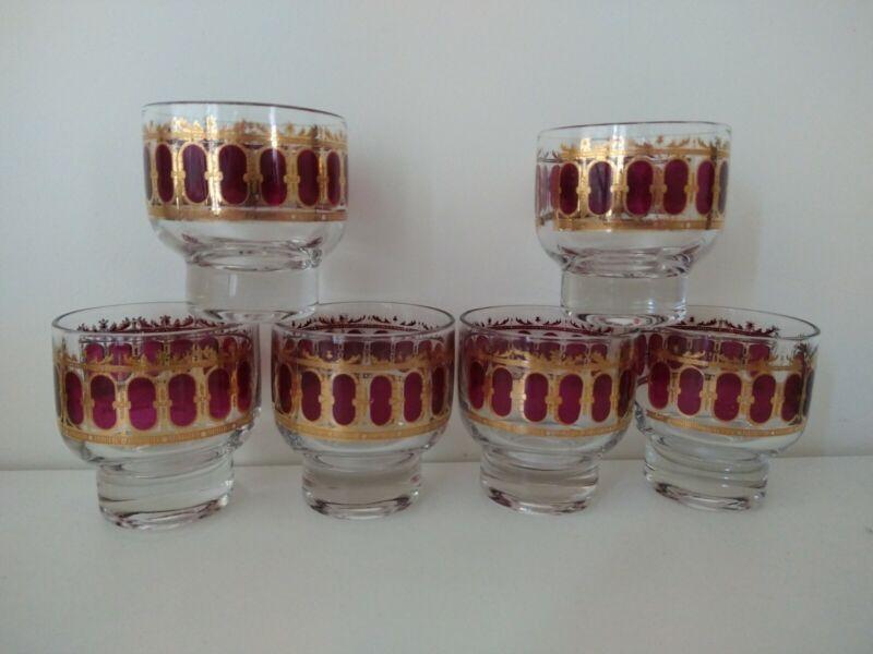 VINTAGE MCM LOT OF (6) CULVER LTD MCM CRANBERRY & GOLD SCROLL LOWBALL GLASSES