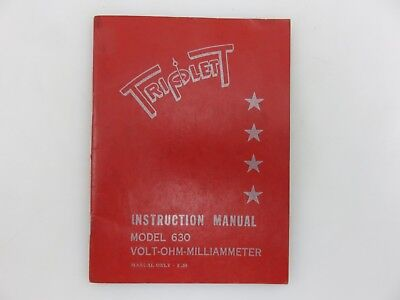 Triplett Model 630 Milliammeter Multimeter Instruction Manual Manual Only