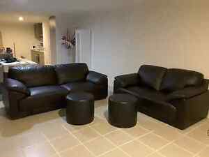 Black leather Lounge suite Butler Wanneroo Area Preview