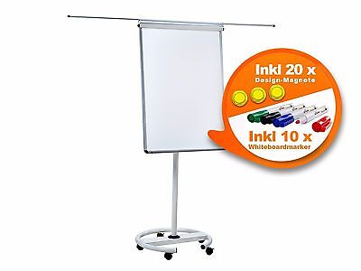 Flipchart Flip-Chart Whiteboard magnetisch inkl. 10 Markenstifte und 20 Magnete