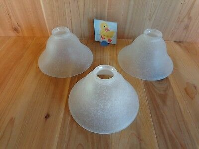 Ceiling Light Fixture Shades GLASS SET OF 3 Clear White Frosted Textured