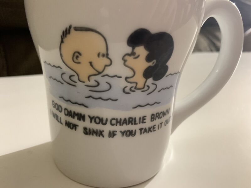 God Damn You Charlie Brown Coffee Mug 1960s Rare