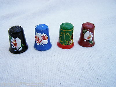 CANAL WARE BARGEWARE SMALL COLLECTION CHINA THIMBLES ~ HAND PAINTED (4)