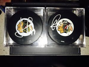 Toews and Kane Signed / Autographed Pucks