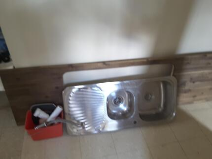 Kitchen sink, bench, mixer and fittings