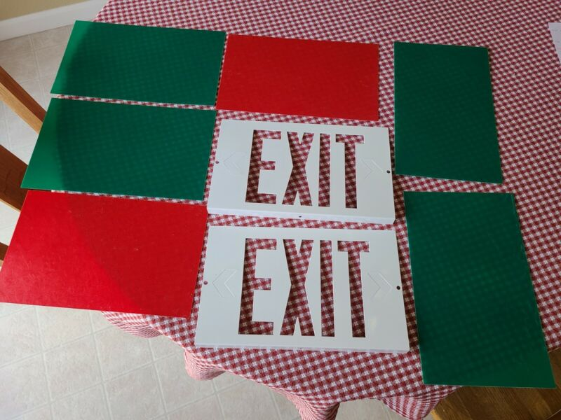 Set of 2 Metal Exit Sign Face Plates w/ Color Sheets
