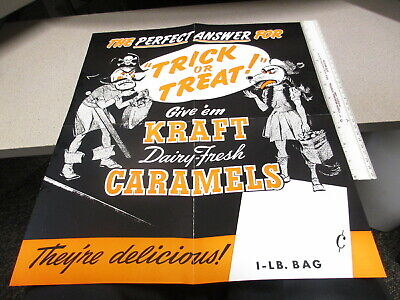 Kraft caramel candy 1950s halloween mask pirate monster store display poster - Halloween Candy Store