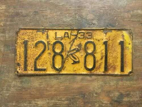 VINTAGE 1933 LOUISIANA LICENSE PLATE