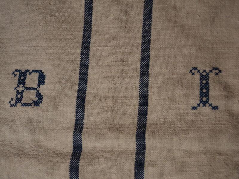 Antique European Feed Sack GRAIN SACK BI Monogram #3752