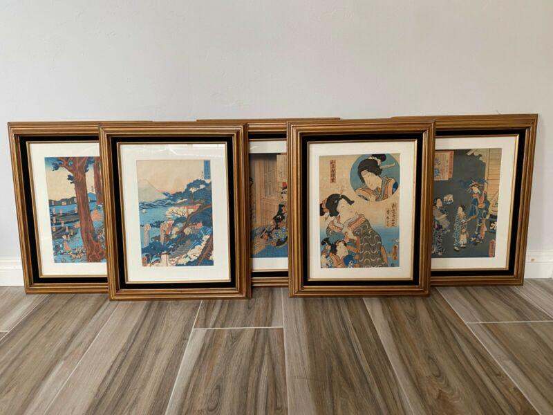utagawa toyokuni 1 ukiyoe japanese woodblock set of 5 framed prints