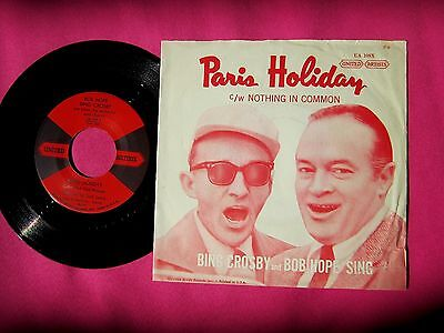 BOB HOPE & BING CROSBY - Paris Holiday - 45 rpm with Picture Sleeve - U.A. 109
