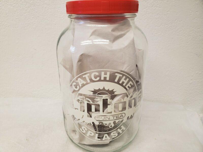 Vintage Lipton Sun Tea Glass Jar Catch The Splash Graphic One Gallon Red Lid