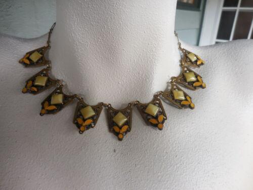 Vintage Yellow Enamel & Glass Stones Art Deco Necklace