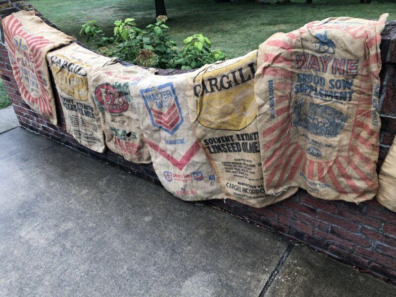 Lot 9 Vintage Cloth Burlap Seed Sacks CARGILL WAYNE FEEDS EZ COOKER